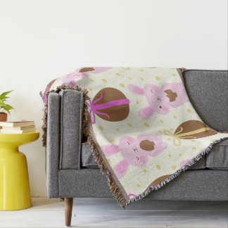 Cute Easter bunnies and chocolate eggs pattern Throw Blanket