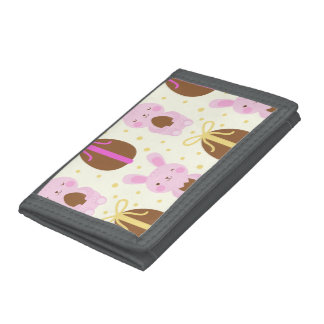 Cute Easter bunnies and chocolate eggs pattern Tri-fold Wallet