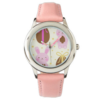 Cute Easter bunnies and chocolate eggs pattern Watch