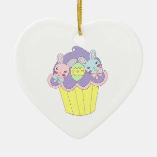 Cute Easter Bunnies Cupcake Ceramic Heart Decoration