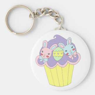 Cute Easter Bunnies Cupcake Basic Round Button Key Ring