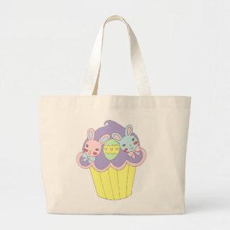 Cute Easter Bunnies Cupcake Large Tote Bag