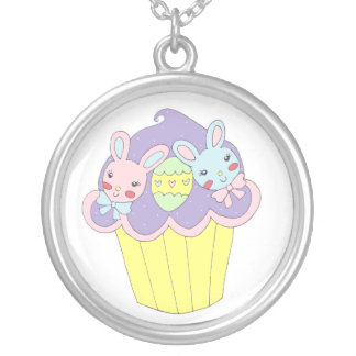 Cute Easter Bunnies Cupcake Round Pendant Necklace