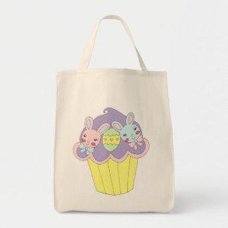 Cute Easter Bunnies Cupcake Grocery Tote Bag