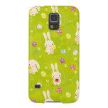 Cute easter bunnies on a meadow
