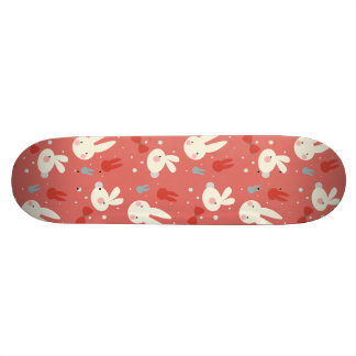Cute easter bunnies on red background pattern 19.7 cm skateboard deck