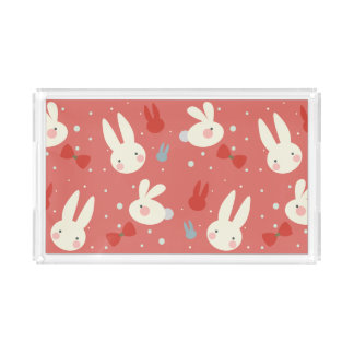 Cute easter bunnies on red background pattern acrylic tray