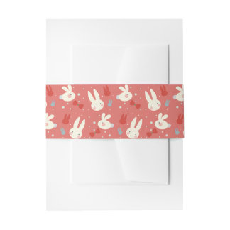 Cute easter bunnies on red background pattern invitation belly band