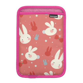 Cute easter bunnies on red background pattern iPad mini sleeve