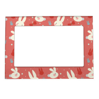 Cute easter bunnies on red background pattern magnetic frame