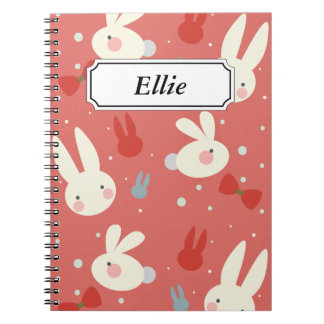 Cute easter bunnies on red background pattern notebook