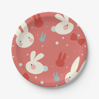 Cute easter bunnies on red background pattern paper plate