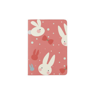 Cute easter bunnies on red background pattern passport holder