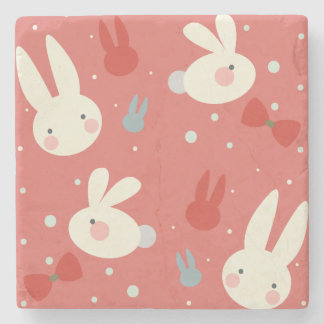 Cute easter bunnies on red background pattern stone beverage coaster