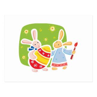 Cute Easter bunnies painting design Postcard