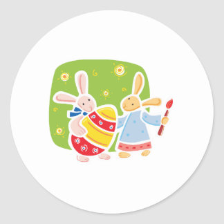 Cute Easter bunnies painting design Round Sticker