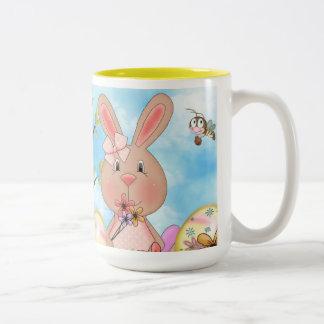 Cute Easter Bunnies Two-Tone Coffee Mug
