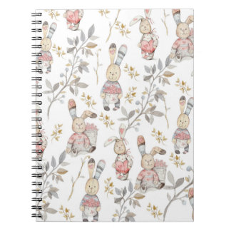 Cute Easter Bunnies Watercolor Floral Pattern Art Notebook