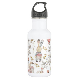 Cute Easter Bunnies Watercolor Pattern 532 Ml Water Bottle