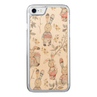 Cute Easter Bunnies Watercolor Pattern Carved iPhone 8/7 Case