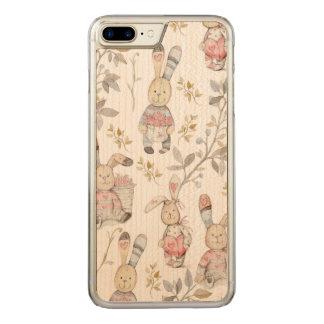 Cute Easter Bunnies Watercolor Pattern Carved iPhone 8 Plus/7 Plus Case