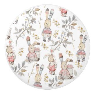 Cute Easter Bunnies Watercolor Pattern Ceramic Knob