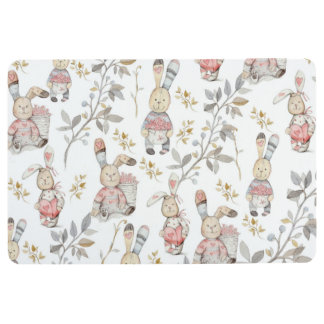 Cute Easter Bunnies Watercolor Pattern Floor Mat