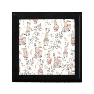 Cute Easter Bunnies Watercolor Pattern Gift Box