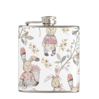 Cute Easter Bunnies Watercolor Pattern Hip Flask