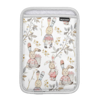 Cute Easter Bunnies Watercolor Pattern iPad Mini Sleeve