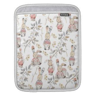Cute Easter Bunnies Watercolor Pattern iPad Sleeve