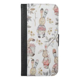 Cute Easter Bunnies Watercolor Pattern iPhone 6/6s Plus Wallet Case