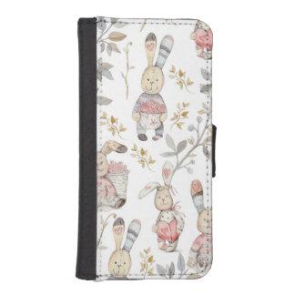 Cute Easter Bunnies Watercolor Pattern iPhone SE/5/5s Wallet Case