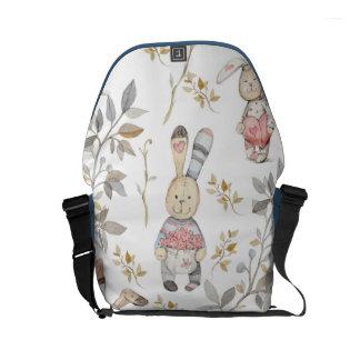 Cute Easter Bunnies Watercolor Pattern Messenger Bags