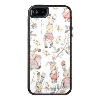 Cute Easter Bunnies Watercolor Pattern OtterBox iPhone 5/5s/SE Case