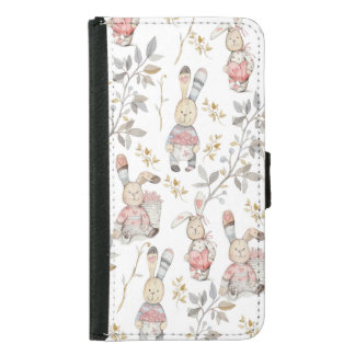 Cute Easter Bunnies Watercolor Pattern Samsung Galaxy S5 Wallet Case