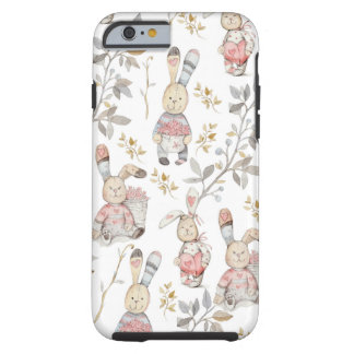 Cute Easter Bunnies Watercolor Pattern Tough iPhone 6 Case