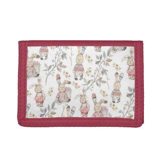 Cute Easter Bunnies Watercolor Pattern Tri-fold Wallet