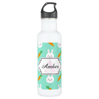 Cute easter bunny and carrots on aqua pattern 710 ml water bottle