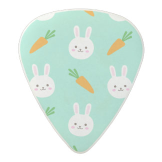 Cute easter bunny and carrots on aqua pattern acetal guitar pick