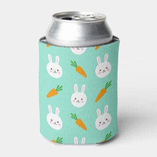 Cute easter bunny and carrots on aqua pattern can cooler