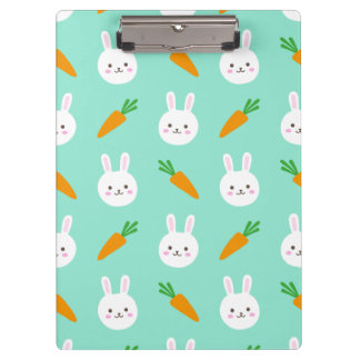 Cute easter bunny and carrots on aqua pattern clipboard