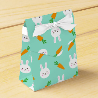 Cute easter bunny and carrots on aqua pattern favour box