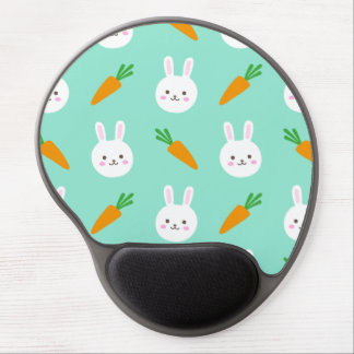 Cute easter bunny and carrots on aqua pattern gel mouse pad