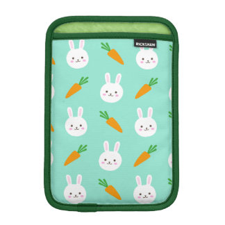 Cute easter bunny and carrots on aqua pattern iPad mini sleeve