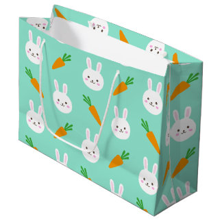 Cute easter bunny and carrots on aqua pattern large gift bag