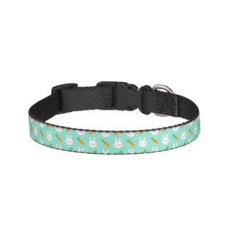 Cute easter bunny and carrots on aqua pattern pet collar
