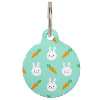 Cute easter bunny and carrots on aqua pattern pet name tag