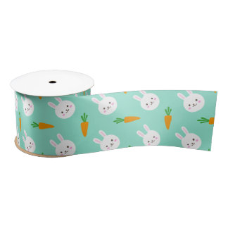 Cute easter bunny and carrots on aqua pattern satin ribbon