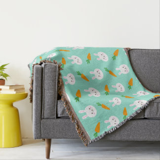 Cute easter bunny and carrots on aqua pattern throw blanket